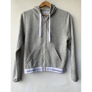 Small, Calvin Klein sleepwear, modern cotton full zip up hoodie in grey
